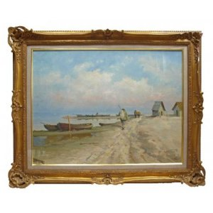 Seascape with Fishermen, oil painting in giltwood frame