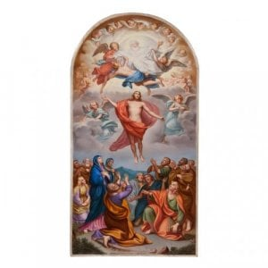 Antique Meissen porcelain plaque of Christ's ascension