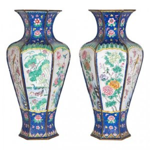 Antique Chinese pair of hexagonal cloisonné enamel vases