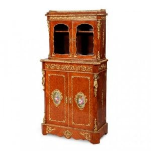 Ormolu and porcelain mounted wooden antique cabinet by Grade