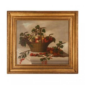 Old Master still life oil painting of a basket of fruit