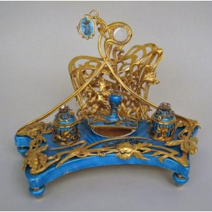 Guilloche enamel, diamond and silver gilt antique desk set