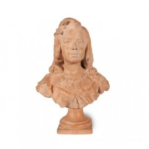 French antique terracotta bust of a young girl by Weigele