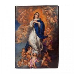 Painted porcelain antique plaque depicting the Virgin Mary