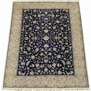 Antique woven wool Isfahani carpet