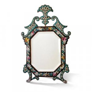 Antique Florentine table mirror with micromosaic frame