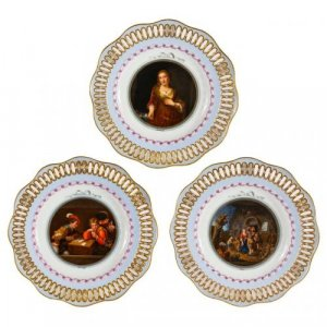Set of three Old Master porcelain plates by Meissen