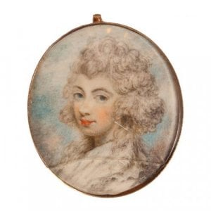 Miniature painted antique ivory panel with gold frame