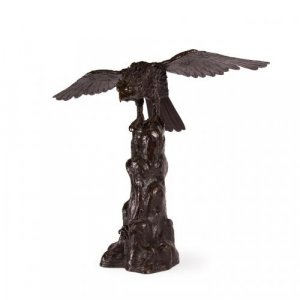 Japanese Meiji period antique bronze model of an eagle