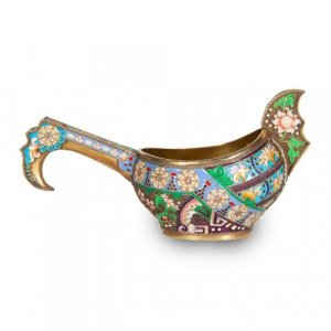 Cloisonné enamel and silver gilt Russian kovsch