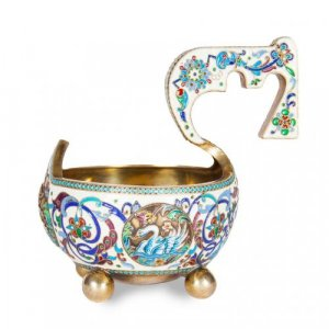 Silver gilt and cloisonné enamel Russian kovsch