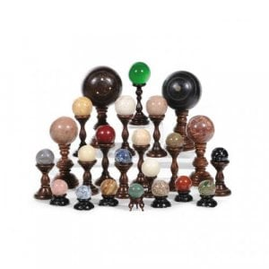 Collection of twenty-three antique marble and stone spheres