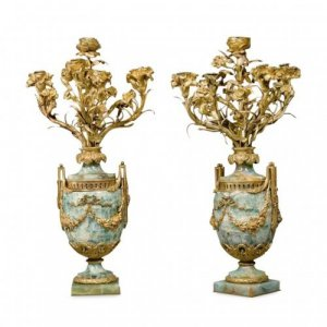 Pair of Louis XV style ormolu mounted Fluorspar candelabra