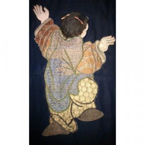 Set of seven Chinese hand-embroidered silk wall hangings