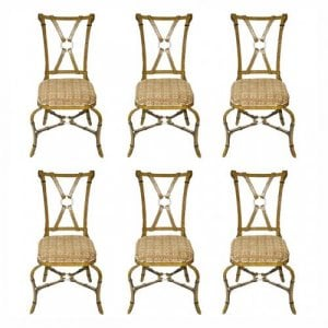 Set of six antique wrought iron chairs of modern design