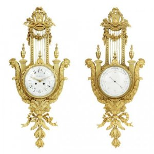 Louis XVI style antique ormolu cartel clock and barometer
