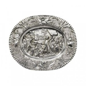 Oval shaped silver tray embossed with Napoleonic scene