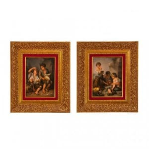 Pair of antique KPM porcelain plaques after Murillo