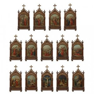 Set of fourteen paintings of the Stations of the Cross