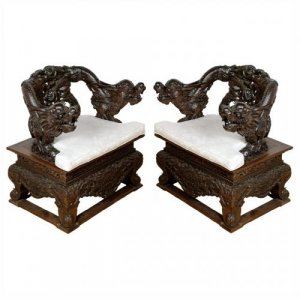 Pair of Chinese late Qing dynasty carved hongmu armchairs