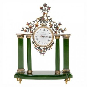 Silver and nephrite antique table clock with precious stones