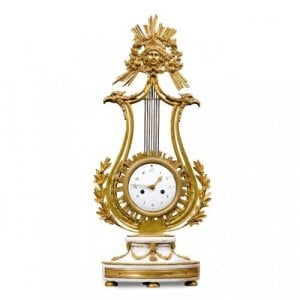 18th Century French Louis XVI period ormolu and marble mantel clock