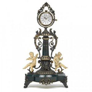 Silver gilt and ivory mounted bloodstone antique table clock