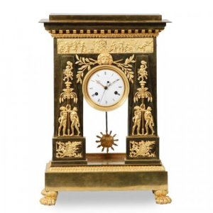Antique Empire period ormolu mantel clock by Deverberie