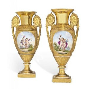 Pair of French Empire period gilt ground porcelain vases