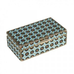 Silver gilt and cloisonne enamel snuff box by Grachev Brothers