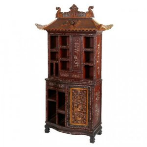 Bone inlaid hardwood, boxwood and ebony Chinese cabinet