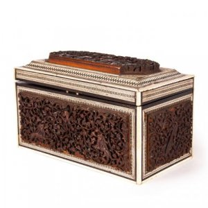 Ivory, lacquered and hardwood antique Vizagapatam tea caddy