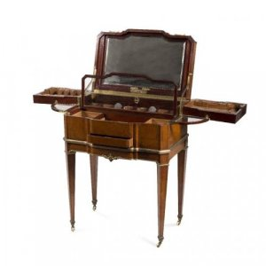 Ormolu, burr amboyna and mahogany antique dressing table