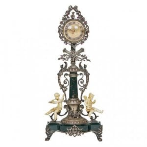 Silver, ivory, and precious stone antique table clock