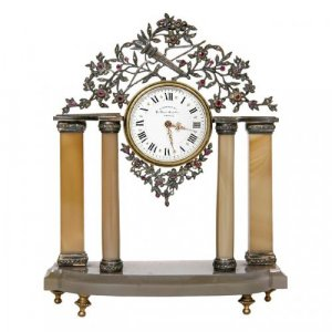 Silver, precious stones and agate antique table clock