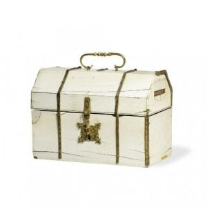 Engraved gilt copper and ivory antique Italian casket