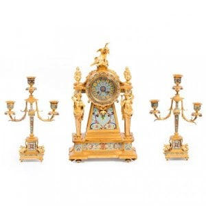 Ormolu and cloisonné enamel antique clock set by Janetti