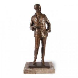Collectable antique patinated bronze male figure by B. Zach