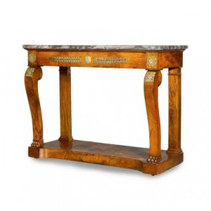 Antique ormolu mounted mahogany Empire period console table