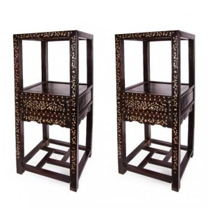 Pair of mother-of-pearl inlaid wooden antique Chinese stands
