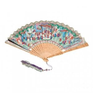 Antique Chinese wood, ivory and gouache painted paper fan