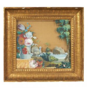 Pair of reverse glass antique Continental paintings