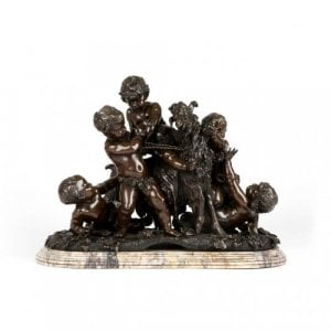 Collectable antique patinated bronze French figural group