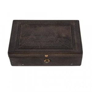 Engraved rectangular tortoiseshell antique music box