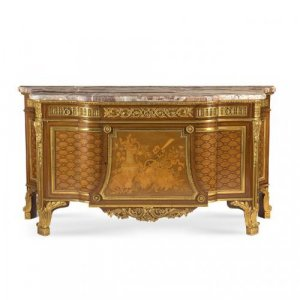 Louis XVI style ormolu mounted marquetry commode