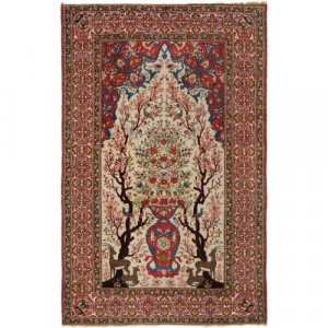 Woven wool antique Isfahani carpet