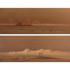 Two paintings of Egyptian Desert Scenes by H. S. Lynton