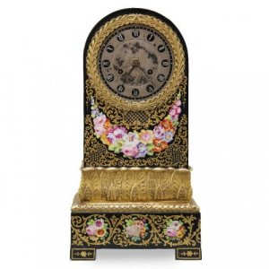 Antique porcelain mantel clock with flowers by Jacob Petit