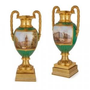 Pair of important KPM porcelain vases of royal provenance