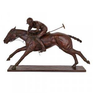 Large bronze polo sculpture by Juliet Cursham